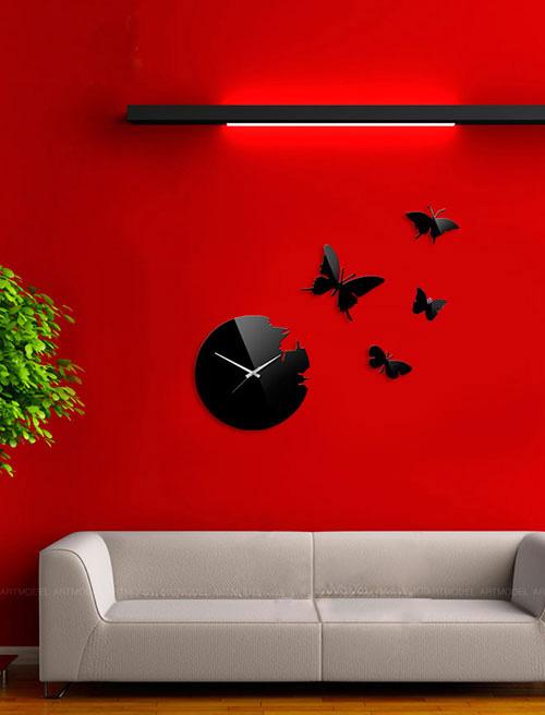 ساعت دیواری طرح پروانه 1